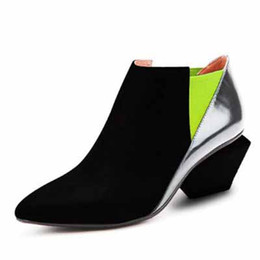 Wholesale Office Flat Shoe For Lady - Mixed colord fashion genuine leather pointed toe thick heel women pumps 2016 ladies sexy high heel shoes for woman