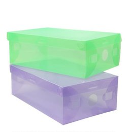 plastic shoeboxes Coupons - DIY Folding Shoebox Shoes Storage Boxes Transparent Boots Organizer Plastic Transparent Toughness Shoe Box Container