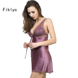 Wholesale Ladies Nighties Wholesale - Wholesale- ladies sexy silk satin nightgown sleeveless nightdress plus size sleepwear lace nighties V-neck sleepwear nightwear for women