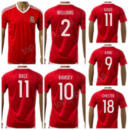 Wholesale Make White Wine - Welsh Jersey 2017-2018 Soccer 11 Ryan Giggs Football Shirt Make Customized National Team 11 BALE 10 RAMSEY 9 VOKES 2 WILLIAMS Thai Quality