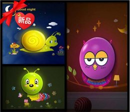Wholesale Diy Lamp Wallpaper - Wholesale- LED Wall Sticker Lamp Animal Wallpaper Sensor Control Lights Baby Child Nightlight DIY Wall Decoration