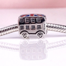 Wholesale Enamel Sports Charms - Authentic 925 Sterling Silver London Bus With Blue & Red Enamel Charm Fit DIY Pandora Bracelet And Necklace 791049ER