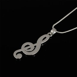 Wholesale Music Symbol Pendant - Fashion Style Rhodium Plated Lovely Music Note Shape Symbol Pendant Necklace Jewelry