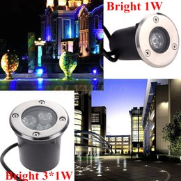 Wholesale Ip67 1w - Waterproof LED Buried Lights IP67 Recessed Step Lamps Patio Paver Plinth Outdoor Lighting 1W 3W Underground LED Light swimming pool fountain