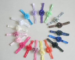 Wholesale Mini Mesh Flowers - 20pcs Girl Boutique mini 2 inch silk flowers glued hair band Satin Mesh Hair Flower with Iridescent Skinny shimmer Headbands 18 color SG8517