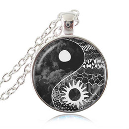 Wholesale china glass pendants - Yin Yang Sun and Moon Pendant Necklace Tai Chi Jewelry Glass Cabochon Long Statement Chain Necklace for Women Men Fashion Apparel Accessory
