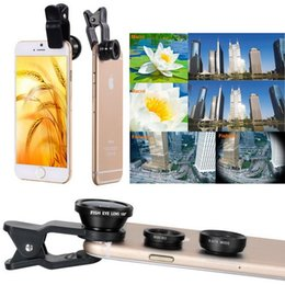 Wholesale Tripod Macro - Universal Fisheye Lens 3 in 1 Mobile Phone Clip Lenses Fish Eye Wide Angle Macro Camera Lens for Smartphone iPhone 6 Microscope