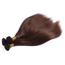 tinte natural para el cabello de color marrón oscuro Rebajas Barato # 4 Brown oscuro 3 paquetes recto pelo sin procesar del pelo de la Virgen puede ser encrespado y teñido de cabello humano teje alta calidad