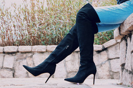 Wholesale High Heel Winter Boots Sale - HOT sale 2016 Cowleather Suede Zipper Shoes Woman Winter Roman Heels Black Over Knee High Boots Free Shipping