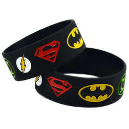 Wholesale Super Heroes Flash - Wholesale Shipping 50PCS Lot Super Hero Silicon Wristband Bracelet Superman, Batman, Green Lantern, The Flash Wristband