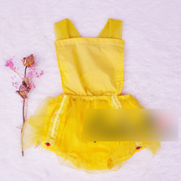 Wholesale Headband Beauty - Toddler kids princess Rompers children suspender tank top tulle lace jumpsuits baby kids Beauty and the beast performance costume G0125