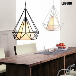 Wholesale Birdcage Iron - modern black birdcage pendant lighting iron minimalist retro lights Scandinavian loft pyramid lamp metal cage with led bulb