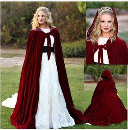 Wholesale Satin Cloak Red Lining - 2018 New Burgundy Velvet Hooded Cloak Wedding Cape Red Silk Halloween Shawl Renaissance Medieval Lined Velvet Cloak
