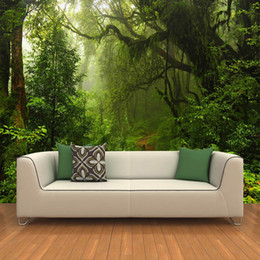 Wholesale Forest Wallpaper For Home - Wholesale-Custom 3D Primeval Forest Wall Mural Photo Wallpaper Scenery For Walls 3D Room Landscape Wall Paper For Living Room Home Decor