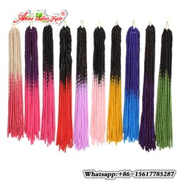 Wholesale Braid Hair Weft - 5PACKS 20Strands Synethetic Faux locs BraidS Soft Crochet Hair Two Tone Ombre T1B Pink blond BUG RED Braiding Hair