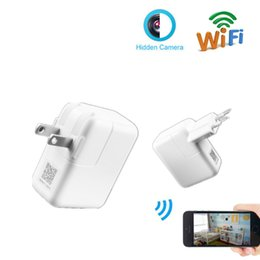 Wholesale Wifi Usb Security Camera - New HD 1080P Wifi Camera USB Power Adapter Hidden Camera Wireless Phone Charger Spy Cam Real Wall AC Plug Suveillance Camera Security DVR