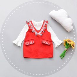 Wholesale Kid Girl Woolen Dresses - Hot Selling Korean style Baby Kids Girl cotton pagoda sleeve T-shirt Woolen tassels dress two set baby kids clothing 3 colors free shipping
