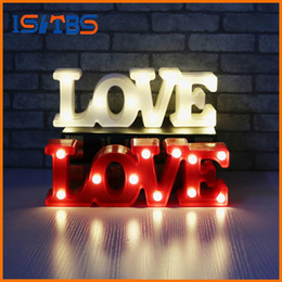 Wholesale Led Sign Emergency Light - 2017 New Romantic Small White LOVE Marquee Sign Night Lights For Home Wedding Decoration Valentine Gift