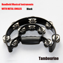 Wholesale Metal Alice - Wholesale- Alice Black Handheld Musical Instruments WITH METAL JINGLES Tambourine High-quality metal jingles