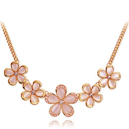 Wholesale Nice Red Rose - 40% Off rose gold necklace wholesales Flower Cat eye gem Stone necklace 40cm Quality Nice Looking Wedding Elegant Jewelry Free DHL