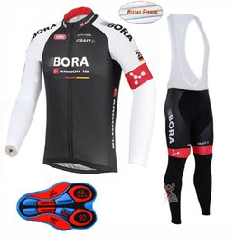 Wholesale Thermal Bib Cycling - Cycling jersey pro team BORA Men's winter Thermal Fleece bib pants sets Quick dry Outdoor MTB Bicycle Clothing ropa ciclismo hombre