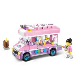 Wholesale Enlighten Girls - Enlighten 1112 Girl Mobile Ice cream Truck Building Blocks Bricks Model Assembled Toys For Children Gift