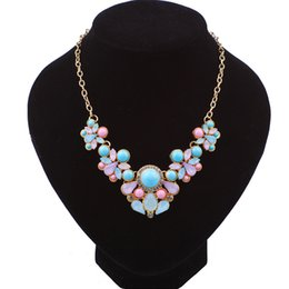 Wholesale Fresh Water Plants - Bohemian Choker Necklace & Fashion Sweet Women Water Drop Fresh Candy Color Statement Pendant Necklaces DHL Free Shipping