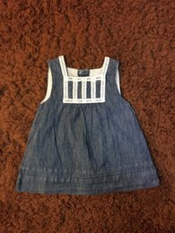 Wholesale Baby Denim Dresses - Baby Girls Jeans Dress Sleeveless Summer Round Neck Solid American Style 3-6Months Infant Girls Denim Clothes