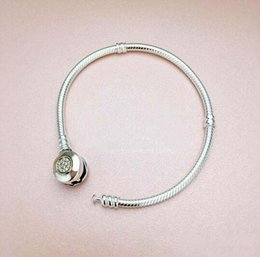 Wholesale Two Tone Charms - Sterling Silver Bead Charm PAN MOMEMTS Two-Tone Signature Snake Chain Beads Fit Pandora Bracelet Bangle Jewelry