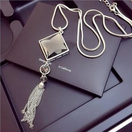 Wholesale united states sweaters - High - grade elegance temperament fashion wild tassel sweater chain long necklace Europe and the United States jewelry female pendant with j