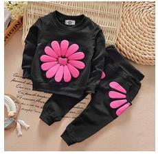 Wholesale Casual Autumn Winter Sports Hoodies - 2pcs spring autumn children clothing set baby girls sports suit sunflower casual costume hoodies