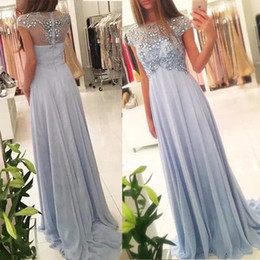 Wholesale Elegant Butterfly Sleeves - 2017 Elegant Chiffon Prom Dresses Beaded Scoop Crystal Butterfly Pattern Back A-Line Long Evening Gown