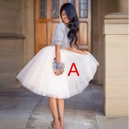 Wholesale Knee Length Yellow Skirts - 2017 2 styles Fashion Delicate 4 Layers Women Knee Length Adult Tutu Tulle Skirts For Wedding Party Plus Size Vestidos
