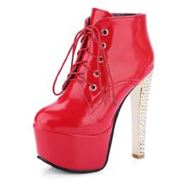 Sapatos de plataforma alta do céu on-line-SJJH moda feminina sky high stiletto botas de salto com plataforma de espessura e rendas até sapatos de festa de casamento tornozelo PP042