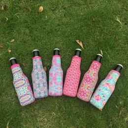 Wholesale Wholesale Can Coolers - Wholesale Blanks Lilly Bottle Wrap Neoprene Beer Cooler Crown Jewel Coral Flamingo Rose Mucho Printing Can Cover DOM103508