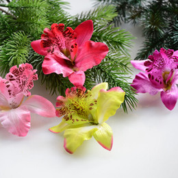 Wholesale yellow hawaiian flowers - Wholesale- 50 Pcs Silk Orchid Artificial Flower Orchids High Quality Diy Small Flower For Wedding Hat Decoration Hawaiian Party Flowers
