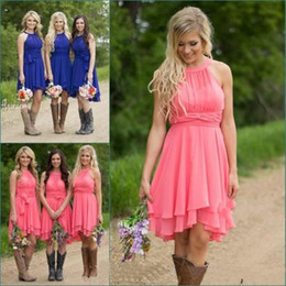 Wholesale Halter Knee Length Wedding Dress - Cheap Country Bridesmaid Dresses Short 2017 Coral Plus Size Modest Western Wedding Guest Gowns Knee Length Maid of Honor Under 100