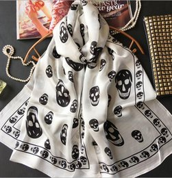 Wholesale Ladies Skull Print Scarf - White Black Skulls Print Lady Mulberry Silk 170*65cm Rectangle Scarf Printed 100% Pure Silk Pashmina Shawl Wraps Fashion Hijabs Capes