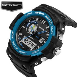 Wholesale Dual Time Boy Sports Watch - 2017 New Arrival Sanda Waterproof Dual Time Digital Sport Multi Function Quartz Shock Wristwatches For Men Boy Mountain Watches Saat clock