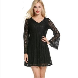 Wholesale Adults Princess Skirts - V-neck Lace skirt Princess Dress loose and comfortable sexy Hook hollow Crochet hook cocktail party Full dres ouc308
