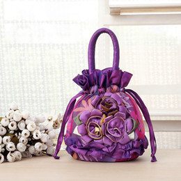 Wholesale Blue Flower String Lights - Women's Fashion Flowers Totes Applique Gift Bags Drawstring Handbags Lace Silk Mini Shopping Bags Wholesale Freeshipping