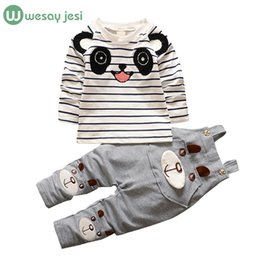 Wholesale Korean Suit For Kids - Wholesale- Baby boys clothes Brand Overalls For korean kids girls clothes cartoon panda toddler boys clothing children's sports suits