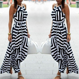 Wholesale Sexy Stripes Dresses Long - HOT New Womens Sexy Bandage Celebrity Long Maxi Dress Ladies Summer Casual Boho Stripe Chiffon Silk Beach Party Halter Sun Dress