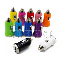 Wholesale Mini Car Charger Piece - For iPhone 6 USB Car Charger Colorful Bullet Mini Car Charger Portable Charger Universal Adapter For iPhone 5S 500 Pieces DHL Free Shipping