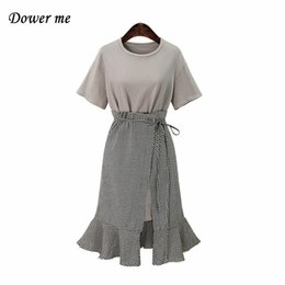 Wholesale Frock Suits - Fashion Large Size Two Piece Suits Trumpet Ladies Dress Women Casual Simple Solid Color Frocks YN250