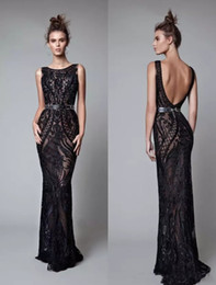 Wholesale Grace Sheath - Sexy Black Berta Dresses Evening Wear Backless Grace Jewel Neck Evening Gowns Applique Sashes Illusion Floor Length Evening Formal Gowns