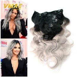 Wholesale Silver Clip Hair Extensions - Ombre Brazilian Clip In Human Hair Extensions Body Wave Silver Grey Clip In 8Pcs Set Ombre Color Clip In Hair Extensions