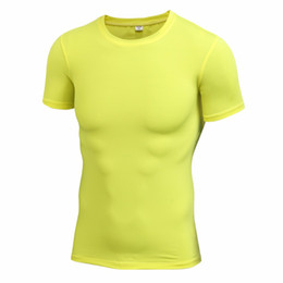 Wholesale Wholesale Hooded T Shirts - Wholesale- Men Elastic Compression T-shirt Men's Tight Round Collar Shirt Tops Short Sleeved Cloth