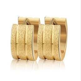 Wholesale Hoop Cross Earrings Men - 60pcs=30 pairs Women Men Fashion Frosted Earrings Stud Stainless Steel Material 3 Color Trendy Style Earrings Jewelry