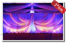 Wholesale Beautiful Curtains - 3*6M Wedding&party backdrop wedding curtain with detachable fanshaped design with beautiful petticoat on top ice silk fabric